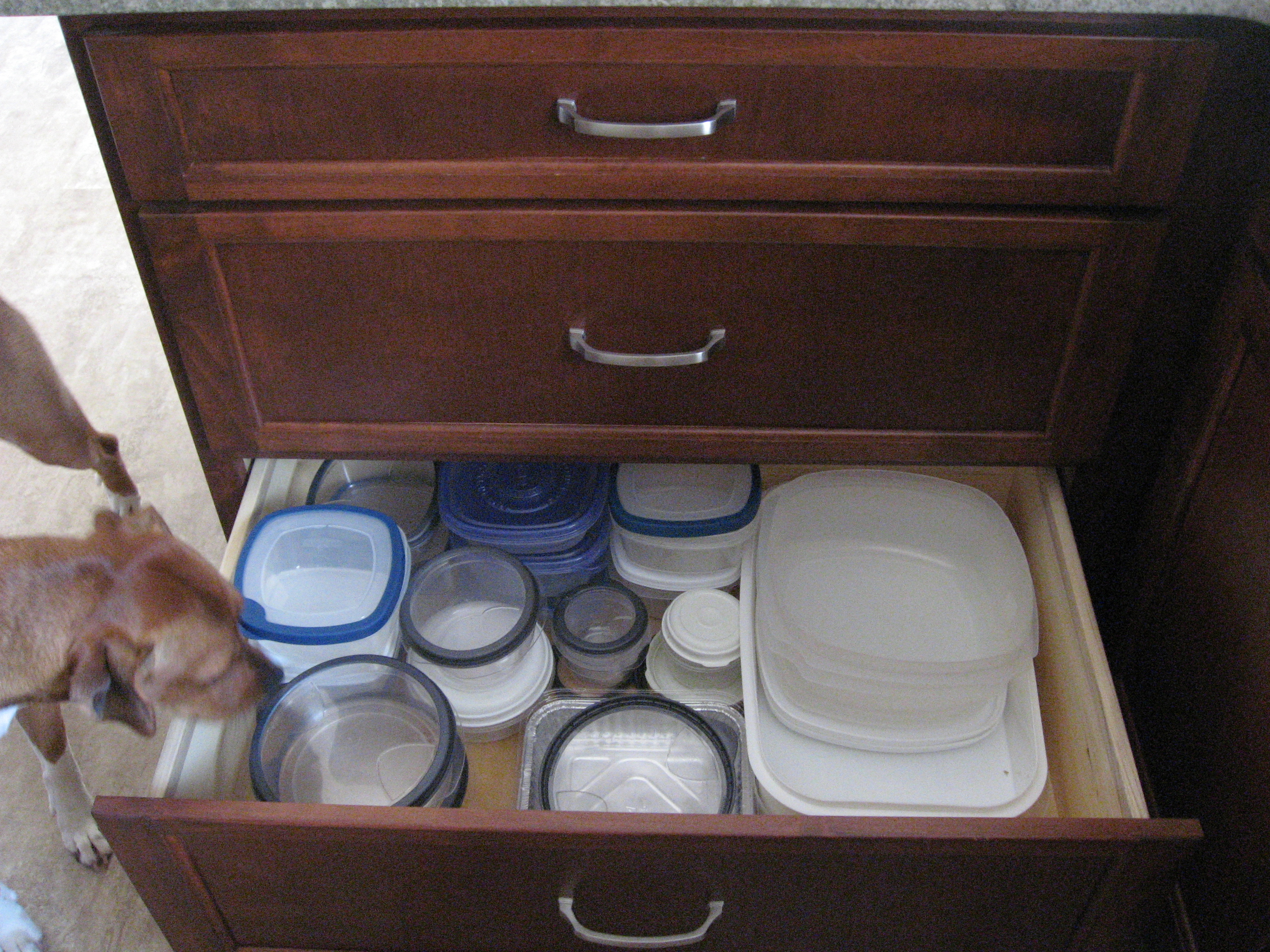 Kitchen Drawer Tupperware Organization