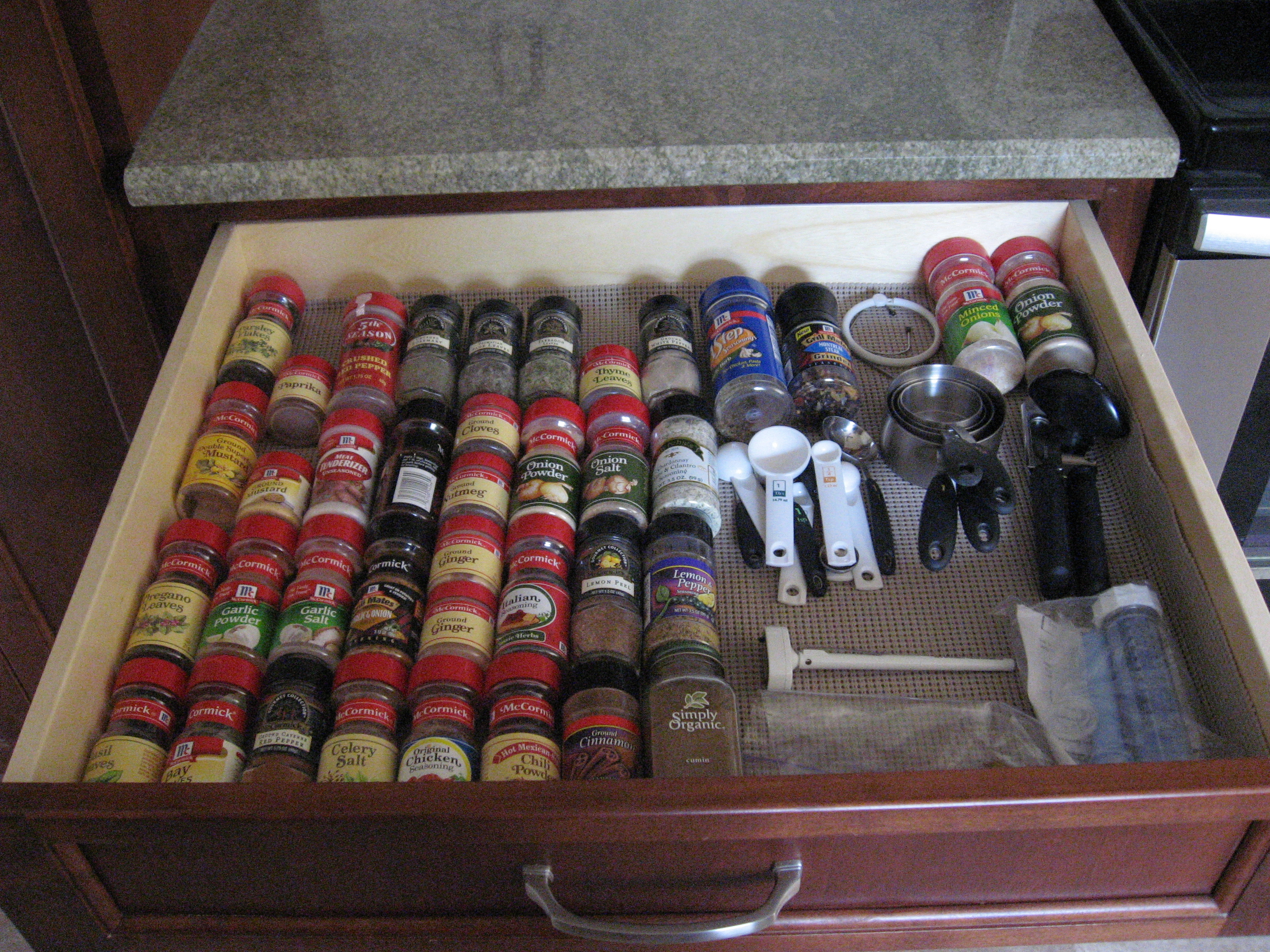 Kitchen Drawer Spice Organization