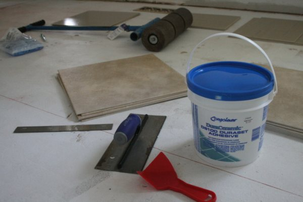 glueing congoleum duraceramic tiles