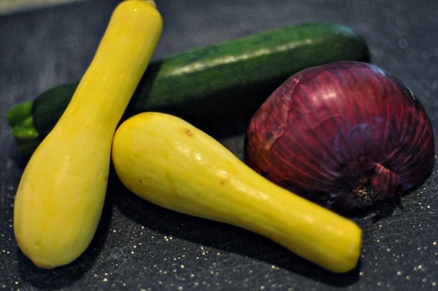 Zucchini, Squash and Red Onion