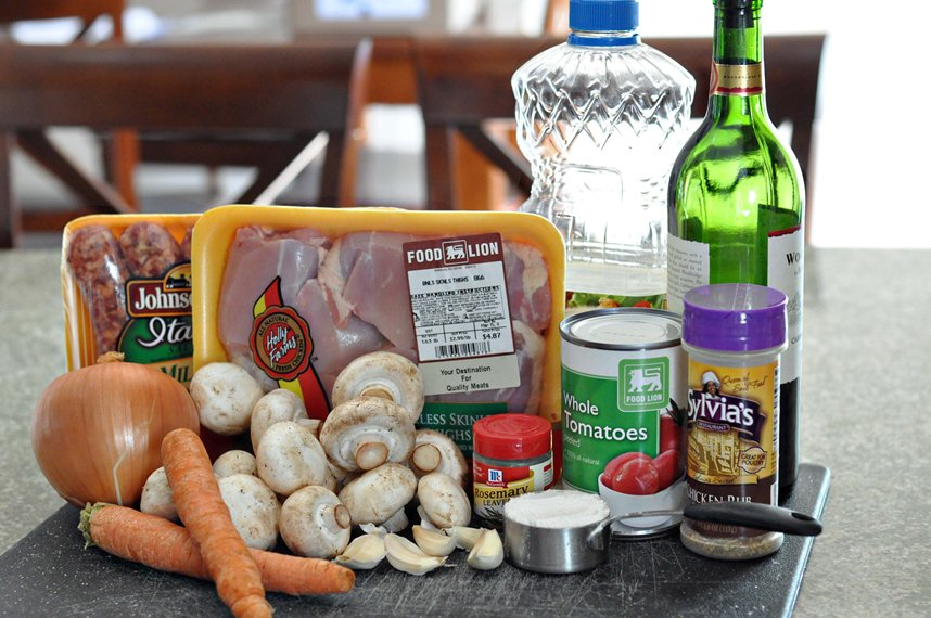 Coq au Vin ingredients
