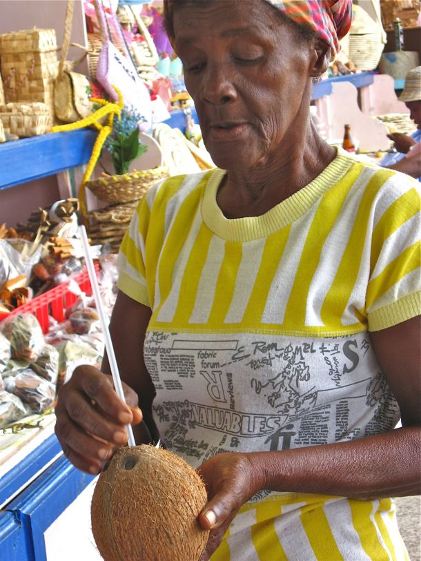 St. Lucia Woman Coconut